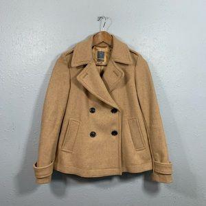 Gap Wool Double Breasted Tan Pea Coat Jacket XS